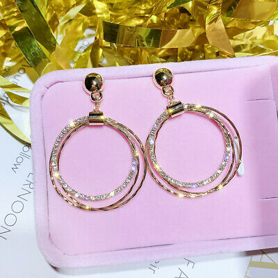 AU3.59 • Buy Gorgeous 925 Silver,Gold,Rose Gold Hoop Earrings For Women Jewelry A Pair/set