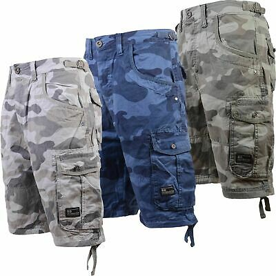 Crosshatch Mens Camouflage Shorts Cargo Combat Knee Length Military Army Pockets • 17.99£