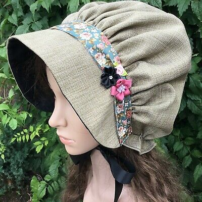 Ladies REGENCY Bonnet TAUPE GREEN Victorian Faux Silk Christmas POSY TRIMMING • 13.99£