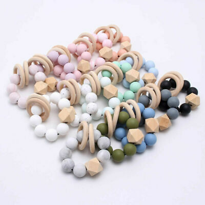 £2.91 • Buy Baby Teething Bracelet Chewable Silicone Beads Wooden Ring Rattles Toys BPA Free