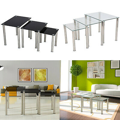 Nest Of 3 Coffee Tables Black Glass Glass Nest Tables Side End Tables Metal Legs • 40.99£