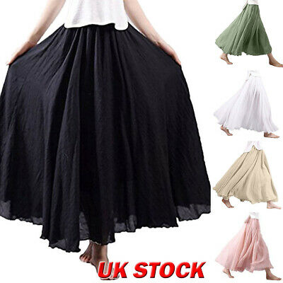 Womens A-line Linen Cotton Skirt Long High Wasit Pleated Ethnic Long Maxi Casual • 10.99£
