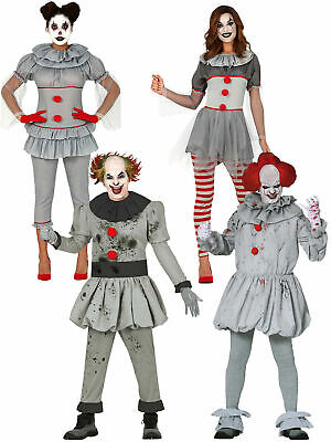 $27.67 • Buy Mens Ladies Killer Pennywise Clown Costume Scary Circus Halloween Fancy Dress IT