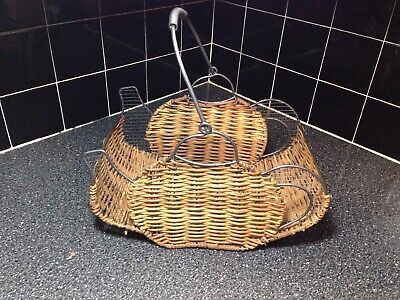 Wire And Wicker Metal Basket, Egg Basket, Home Decor • 6.17£