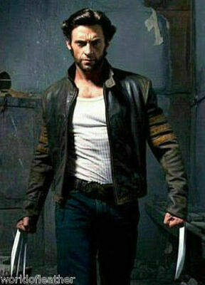 Xmen Wolverine Movie Black Bikers Real Leather Costume Jacket For Men • 90£