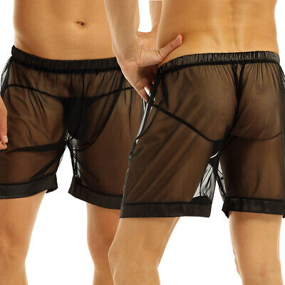 Mens See-Through Sheer Mesh Loose Lounge Boxer Briefs Shorts Underwear Nightwear • 6.17£