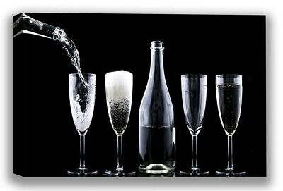 $9.85 • Buy Wine Canvas Wall Art Champagne Black And White Home Decor Prints