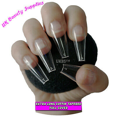 600x Extra Long Coffin T Shape False Nails CLEAR Glue On Full Cover Tips - UK  • 7.99£