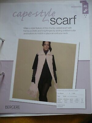 Cape Style Scarf Knitting Pattern From Bergere De France Magazine • 1.50£