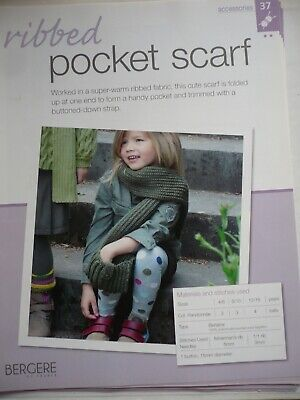 Ribbed Pocket Scarf Knitting Pattern From Bergere De France Magazine • 1.50£
