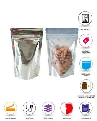 One Side Clear Silver Shiny Stand Up Pouch Bags Sealable Pouch Zip Lock • 1.99£