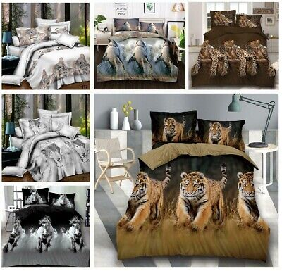 3D Animal Complete Duvet Quilt Cover Complete Bedding Set  All UK Sizes • 23.96£