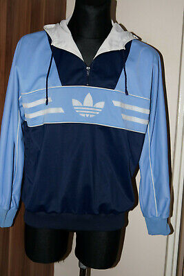 VINTAGE 1980's JACKET ADIDAS MADE IN WEST GERMANY HOODED TRACK TOP (SIZE 54)  • 100£