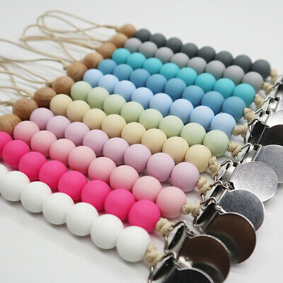 £2.60 • Buy Food Grade Silicone Wooden Round Beads Baby Teething Pacifier Dummy Clip Soother