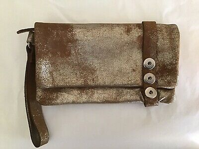 AU145 • Buy Leather Noosa Amsterdam LUMUS Gold Shimmer Clutch Bag Purse