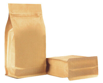 Kraft Paper Stand Up Pouch With Flat Bottom Side Gusset Zipper Heat Seal Bags • 0.99£
