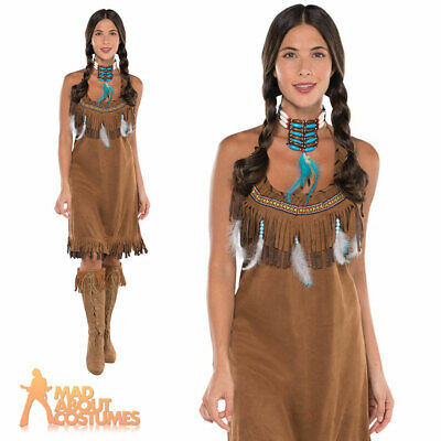 £8.29 • Buy Adult Indian Squaw Native American Dress Costume Ladies Fancy Dress Outfit New