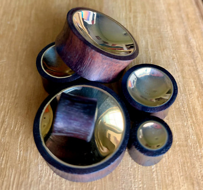 $9.75 • Buy PAIR Concave Gold Tin Sono Wood Plugs Organic Gauges Earlets - Double Sided!