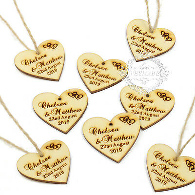 Personalised Wedding Wooden Love Heart Label Wine Charm Tag Rustic Party Favours • 7.88£