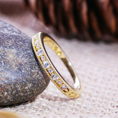 £1.61 • Buy Elegant 18k Yellow Gold Plated Rings For Women Jewelry Cubic Zirconia Size 6-10