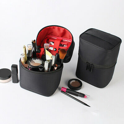 AU12.71 • Buy Women's Portable Barrel-shaped PU Cosmetic Bag Zipper Bag Travel Accessories SW