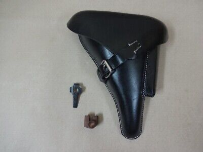 Leather Holster For WW2 P08 Black W/Take Down Tool & Mag. Replacement Bottom B25 • 45.59£