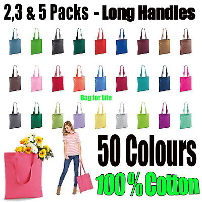 Shopping Bag 2 3 And 5 PACK  Bright Tote Long Handle Bag For Life Cotton LOT • 5.58£