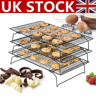 3Tier Steel Wire Stackable Non-Stick Cake Biscuit Cooling Tray Rack Stand Baking • 8.99£