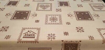 PVC Plastic Table Cloth Christmas Patchwork Brown Snowflakes Hearts Trees Beige  • 0.99£