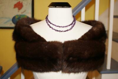 $399 • Buy Luxurious Vintage Real SABLE Fur Stole Shrug Natural Rich Brown Color
