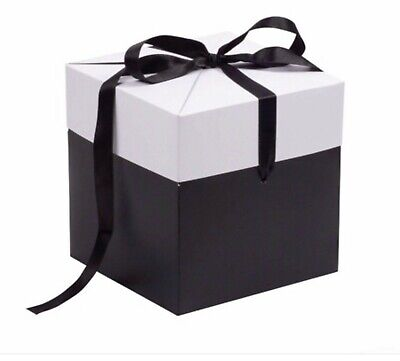£6.75 • Buy Extra Large Ribbon Gift Box Black White Grey Gift Present All Occasions
