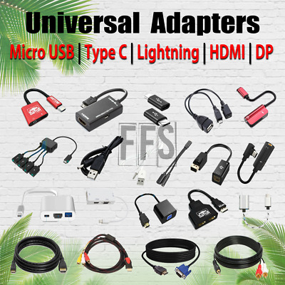 AU15.28 • Buy Adapters For Micro USB / Type C USBC / HDMI / DP / AUX / RCA Cable 4K HD Lot US