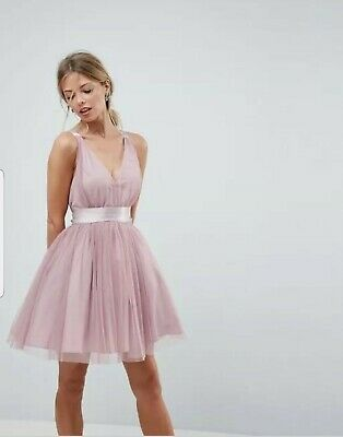 £22 • Buy ASOS PREMIUM Tulle Mini Prom Dress With Ribbon Ties, Size 16, Dusty Pink