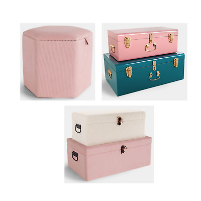 Set Of 2 Storage Trunks Teal/Pink Ottoman Chest Bench Bedroom Living Room New • 129.99£