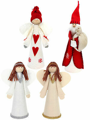 Gisela Graham Angel Fairy Christmas Tree Topper Red White Felt Santa Decoration • 8.95£