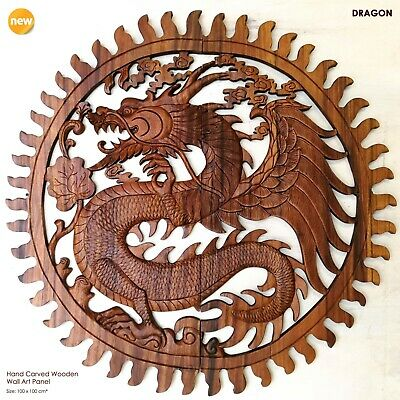 Handmade Carved Wooden Decorative Wall Art Chinese Dragon Panel Large • 349£