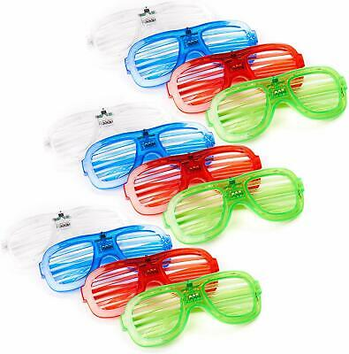 12 PCS LED Light Up Sunglasses Shutter Shades Neon Party Bar Rave Clubbing Disco • 14.99£