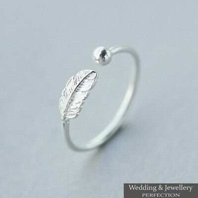 Genuine 925 Sterling Silver Feather Ring Band Open Finger Fully Adjustable Toe • 7.95£