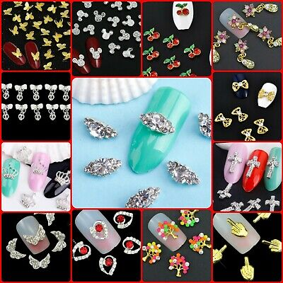 DIY 3D Nail Art Decoration Bows Flowers Roses Rhinestone Gems Stickers UK#1  • 2.49£