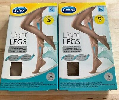 2 Pairs Scholl Light Legs Compression Support Tights - Nude - 20 Denier -Small • 4£