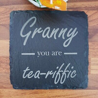 Granny, Grandma You Are 'tea-riffic' Heat Slate Coaster, Personalised, Gift • 4.35£