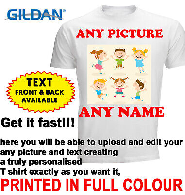 £5.24 • Buy Personalised T-shirt Custom Your Image Printed Stag Hen Party Kids Birthday DTG
