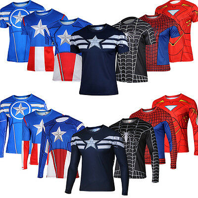 Mens Marvel Compression Base Layer Gym Top Superhero Cycling Jersey T-shirt Fit • 9.02£