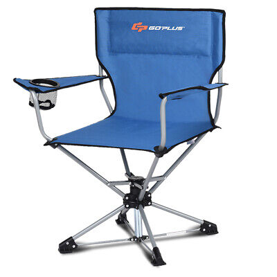 $58.99 • Buy Swivel Camping Chair Collapsible Outdoor Folding Design W/Cup Holder & Armrests