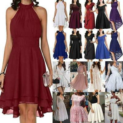 AU23.65 • Buy Women's Chiffon Sleeveless Halter Neck Swing Dress Evening Party Cocktail Proms