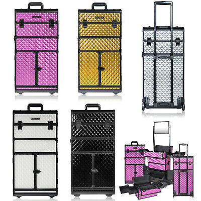 $399.99 • Buy Rolling Cosmetic Train Case Professional Make Up Artist Storage Organizer New