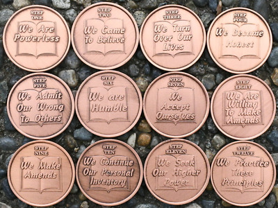 $25 • Buy Set Of 12 Alcoholics Anonymous Copper Step Coins AA Medallions 12 Step Recovery