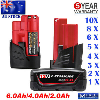AU30.49 • Buy 12V 6.0Ah Battery For Milwaukee M12 XC 6.0 48-11-2440 48-11-2402 48-11-2460 Tool