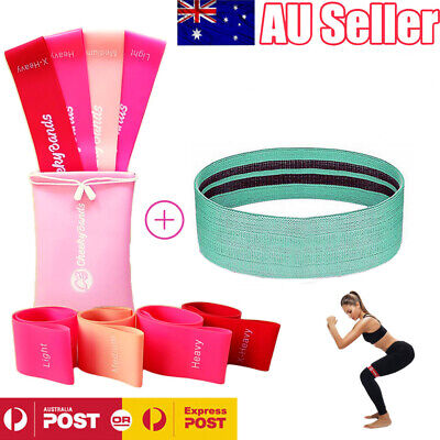 AU20.99 • Buy Resistance Booty Loop Bands Set Of 4 Plus Fabric Hip Band Gym Exercise Guide Bag