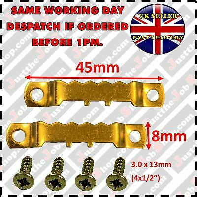 45mm Sawtooth Picture Hangers & Screws Brassed • 1.50£